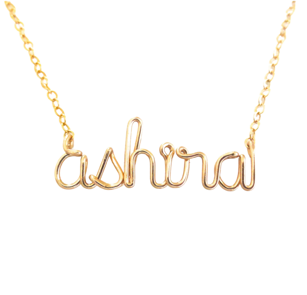 Gold Name Necklace. Personalized Name Necklace. Lowercase letters gold name necklace. Custom Wire Name Necklace
