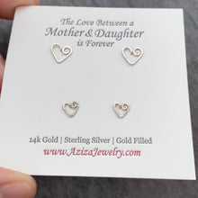 Load and play video in Gallery viewer, Mother Daughter Heart Earrings. 2 Pairs Sterling Silver Heart Studs Set in Medium and Small Earrings. Push Present. Mom to Be Gift