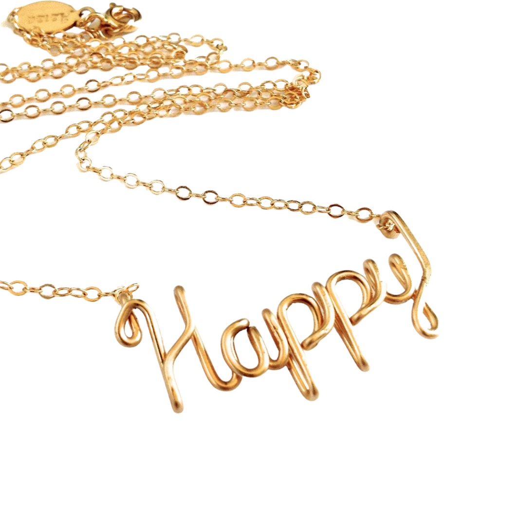 Gold Happy Necklace. 14k Gold Filled Script Wire Happy Necklace. Boho Chic Yoga Inspired Gold Handmade Necklace.