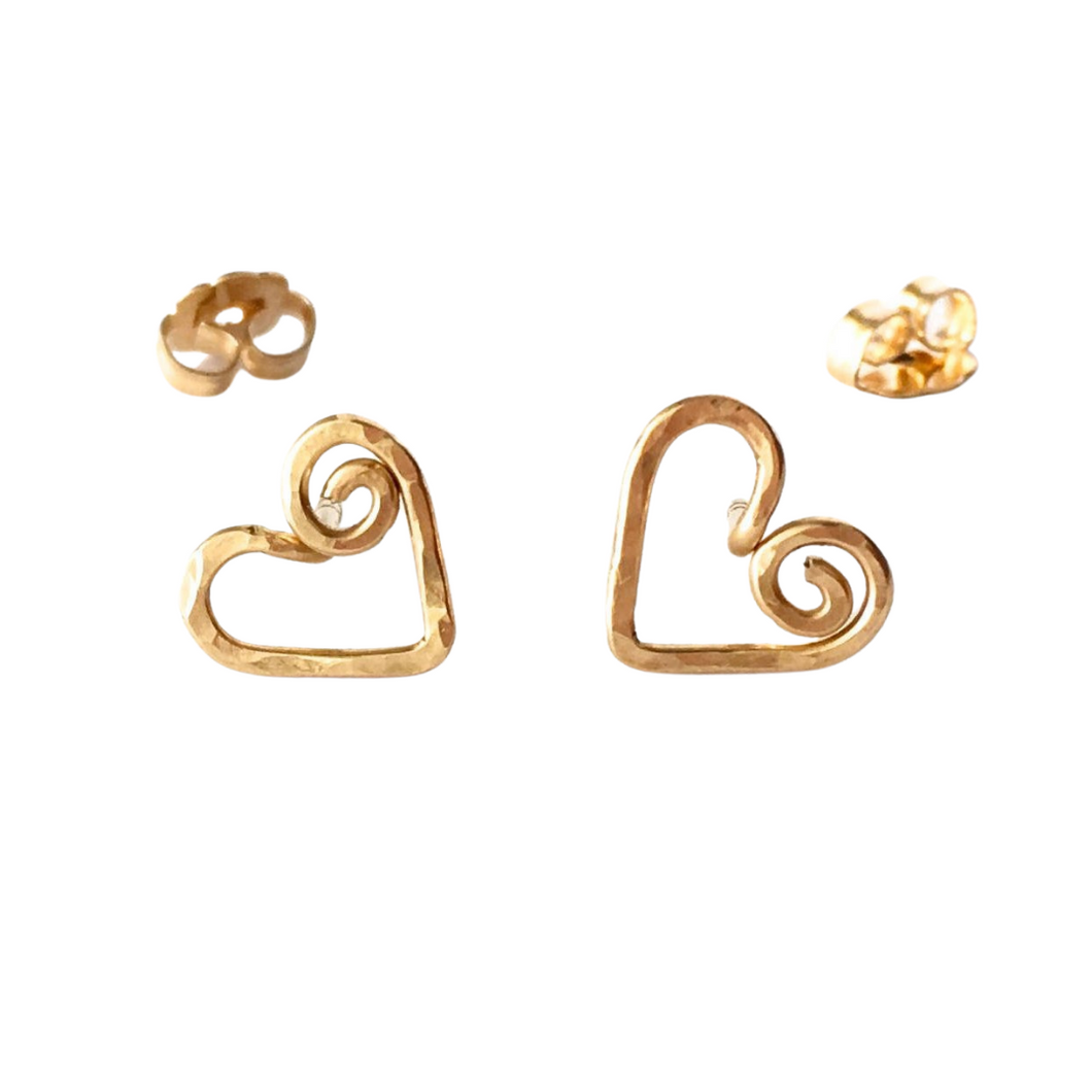 Gold Heart Stud Earrings. Gold Swirly Heart Studs. Spiral Heart Stud Post Earrings.