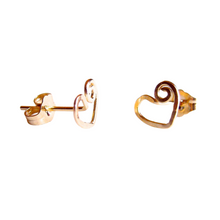 Load image into Gallery viewer, Gold Heart Stud Earrings. Gold Swirly Heart Studs. Spiral Heart Stud Post Earrings.