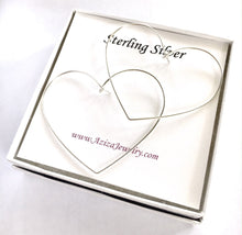 Load image into Gallery viewer, Heart Hoop Earrings. 2.5 inch Large Hoop Earrings