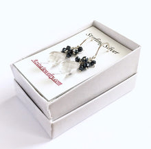 Load image into Gallery viewer, Clear quartz earrings with black spinel gemstones. Sterling silver dangle genuine gemstone earrings.