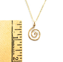 Load image into Gallery viewer, Gold sun swirl pendant. Gold spiral necklace pendant. 14k Gold Round Swirl Hammered Pendant.