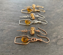 Load image into Gallery viewer, Wine Jewelry. Champagne Lovers Earrings. 14k Gold Champagne Bottle and Cork Screw Earrings with Genuine Citrine.