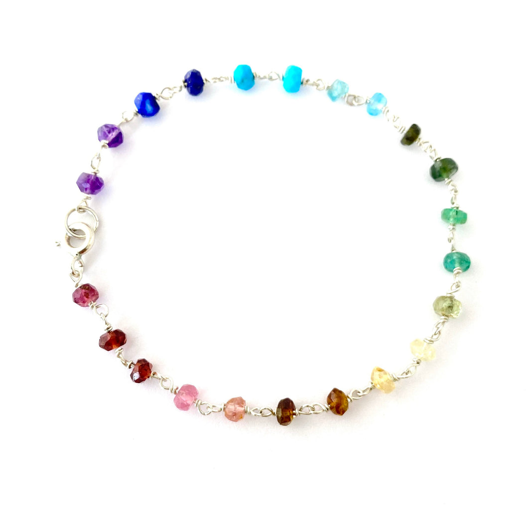 Genuine Rainbow Gemstone Bracelet. Delicate faceted genuine gemstone sterling silver bracelet