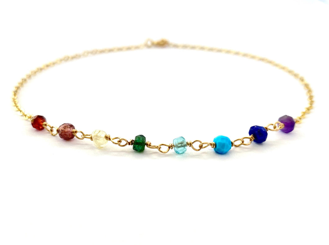 Rainbow Anklet. Genuine Gemstone 14k Gold Anklet. Colorful Multi Gem Ankle Bracelet.