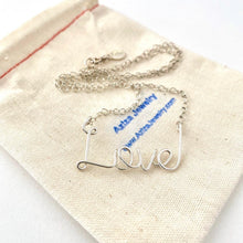 Load image into Gallery viewer, Large Love Necklace. Sterling Silver Script Wire Love Necklace.