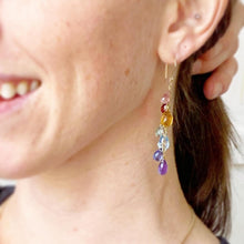 Load image into Gallery viewer, Rainbow Gemstone Cluster Earrings. Luxe Garnet, Iolite, Topaz, Citrine, Chalcedony, Amethyst Gemstone Gold Filled Earrings