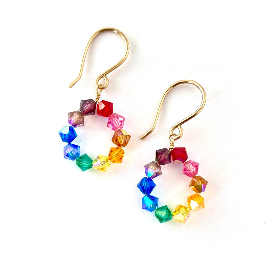 Rainbow Earrings Small. Swarovski Crystal Rainbow Hoop Earrings. Colorful Bright Hoops. Diamond Shaped Crystal Earrings.