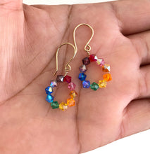 Load image into Gallery viewer, Rainbow Earrings Small. Swarovski Crystal Rainbow Hoop Earrings. Colorful Bright Hoops. Diamond Shaped Crystal Earrings.