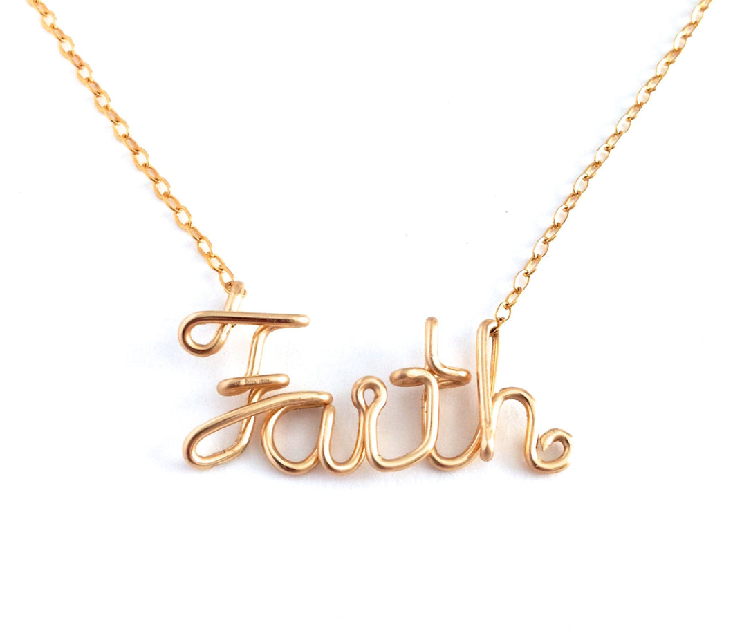 Gold Faith Necklace. 14k Gold Filled Faith Necklace. Script Wire Faith Necklace. Spiritual Jewelry. Religious Jewelry.
