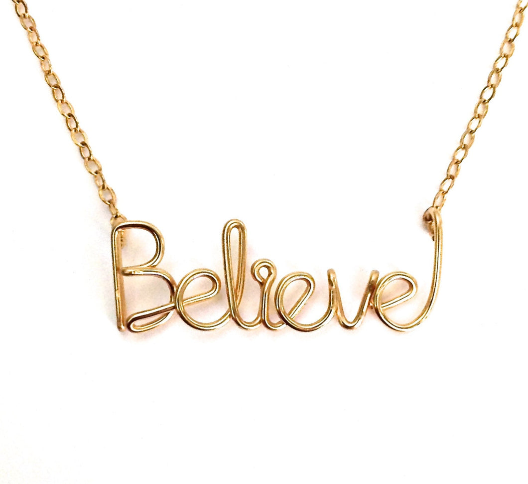 Gold Believe Necklace. 14k Gold Filled Believe Necklace.
