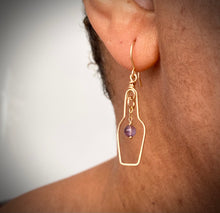 Load image into Gallery viewer, Wine Lovers Earrings with Grape. Wine Bottle Cork Screw Earrings with Real Amethyst. 14k Gold Earrings.