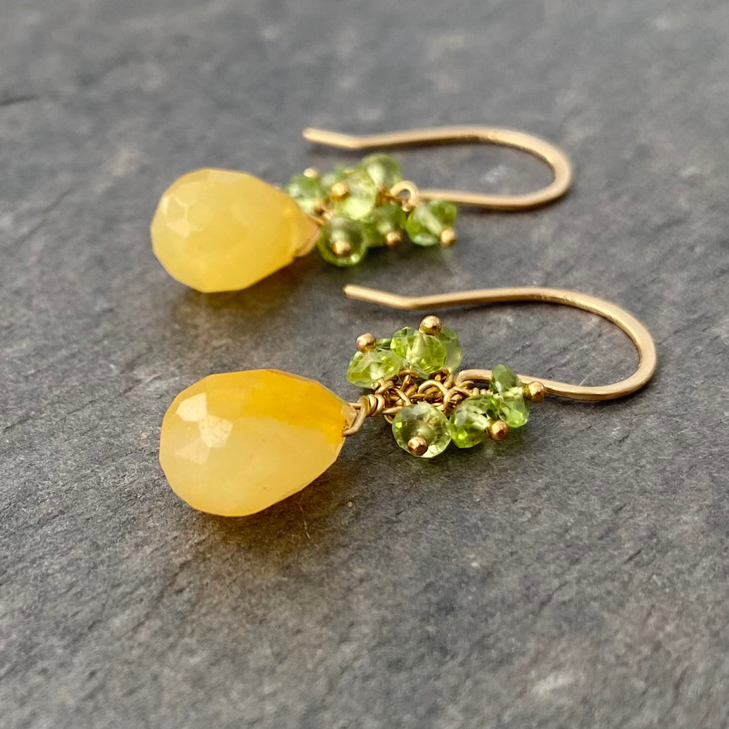 Yellow Jade Earrings with Faceted Green Peridot Clusters. 14k Gold Filled Earrings.