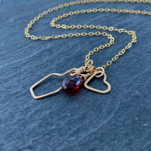 Load image into Gallery viewer, Garnet Wine Lovers Necklace. Genuine Red Garnet Necklace on Delicate Shiny Gold Filled Chain.