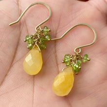 Load image into Gallery viewer, Yellow Jade Earrings with Faceted Green Peridot Clusters. 14k Gold Filled Earrings.