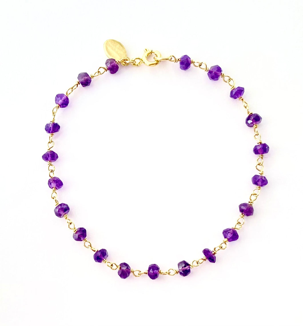 Amethyst Bracelet. Genuine Dark Purple Gemstone 14k Bracelet.
