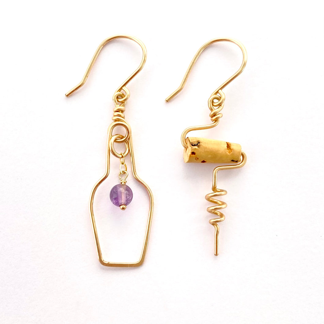 Wine Lovers Earrings with Grape. Wine Bottle Cork Screw Earrings with Real Amethyst. 14k Gold Earrings.