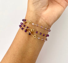 Load image into Gallery viewer, Amethyst Bracelet. Genuine Dark Purple Gemstone 14k Bracelet.