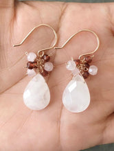 Load image into Gallery viewer, Rose Quartz Earrings with Garnet and Rose Quartz Clusters. Rose Gold Filled Earrings.