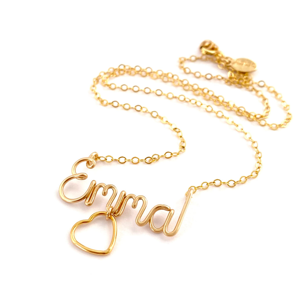 Name Necklace with Heart Charm. Personalized 14k Gold Name Necklace with large heart charm. Script Wire Name Necklace. Valentines Day Gift
