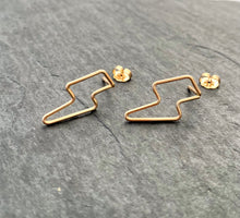 Load image into Gallery viewer, Lightning Stud Earrings. Gold or Silver Dangly Studs. Stud Post Earrings.