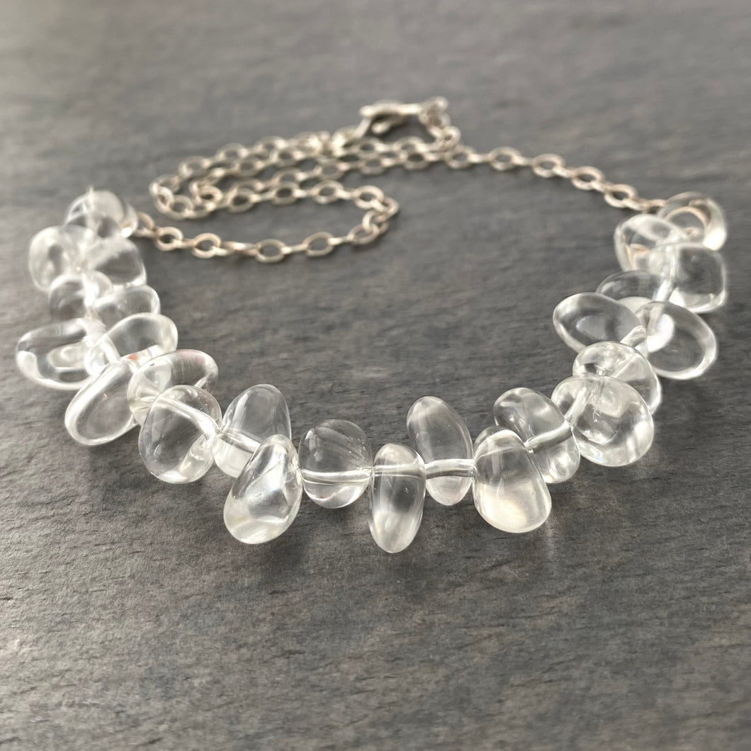 Crystal Necklace. Clear Crystal Quartz Polished Statement Necklace