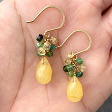 Load image into Gallery viewer, Yellow Jade Earrings with Faceted Watermelon Tourmaline. 14k Gold Filled Earrings.