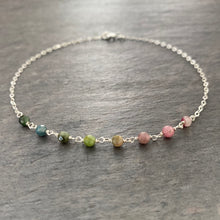 Load image into Gallery viewer, Watermelon Tourmaline Anklet. Sterling Silver Genuine Multi Color Gemstones Ankle Bracelet.