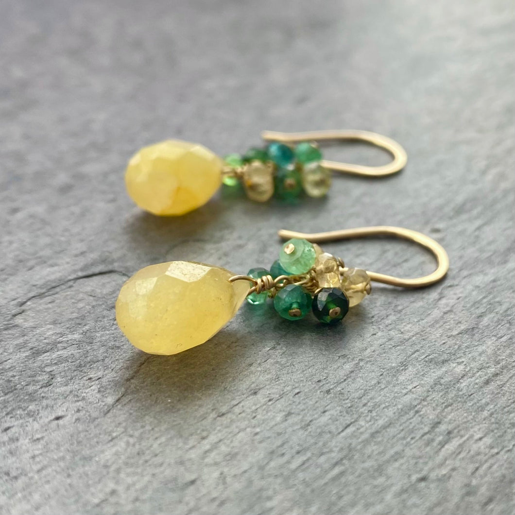 Yellow Jade Earrings with Faceted Watermelon Tourmaline. 14k Gold Filled Earrings.