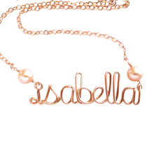 Load image into Gallery viewer, Custom Rose Gold Name Necklace W Pink Pearls 14k Personalized Rose Gold Name Necklace with genuine freshwater pearls. Girls Name Necklace