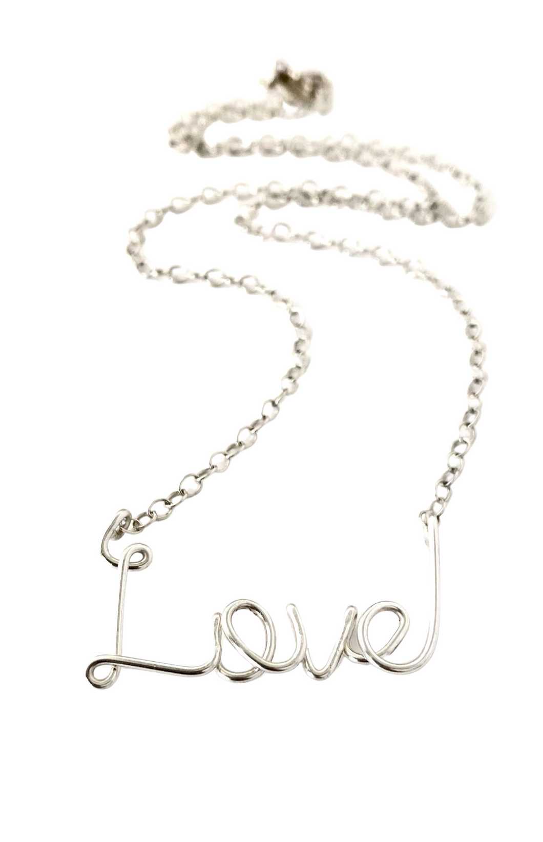 Large Love Necklace. Sterling Silver Script Wire Love Necklace.