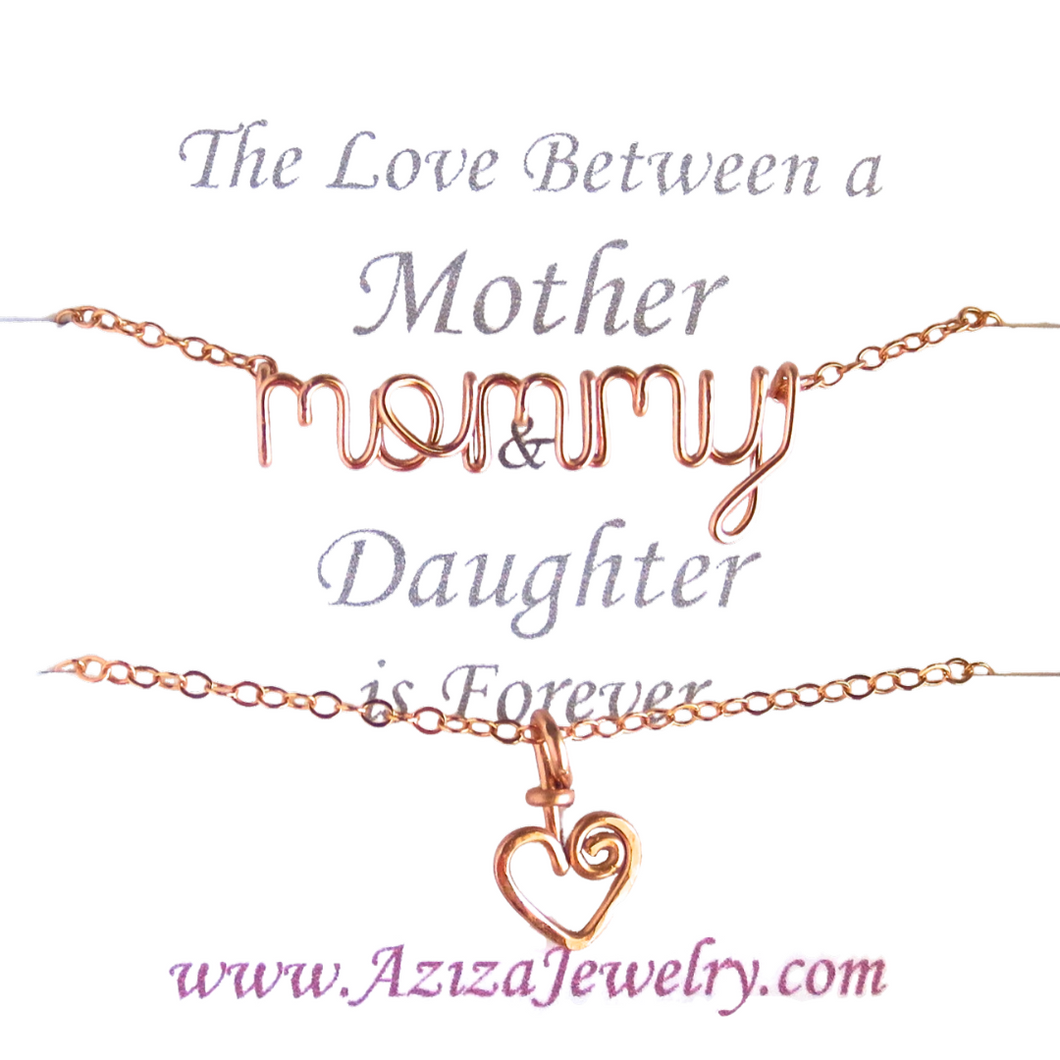 Rose Gold Mommy Daughter Necklace Set. Mommy Heart Necklaces in 14k rose gold filled. Mom to Be Gift. Push Present