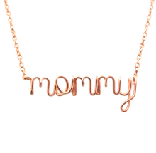 Load image into Gallery viewer, Rose Gold Mommy Daughter Necklace Set. Mommy Heart Necklaces in 14k rose gold filled. Mom to Be Gift. Push Present