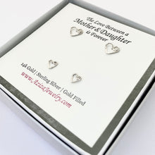Load image into Gallery viewer, Mother Daughter Heart Earrings. 2 Pairs Sterling Silver Heart Studs Set in Medium and Small Earrings. Push Present. Mom to Be Gift