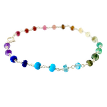 Load image into Gallery viewer, Genuine Rainbow Gemstone Bracelet. Delicate faceted genuine gemstone sterling silver bracelet
