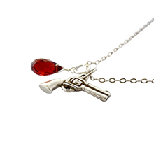 Load image into Gallery viewer, Gun Necklace. Gemstone Gun Charm Necklace. Heart Protection Sterling Silver Valentines Day Gift Gun Charm Necklace