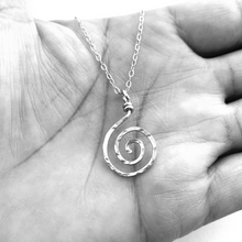 Load image into Gallery viewer, Sun Swirl Pendant. 14k White Gold Spiral Pendant. Hammered Spiral Swirl Necklace.