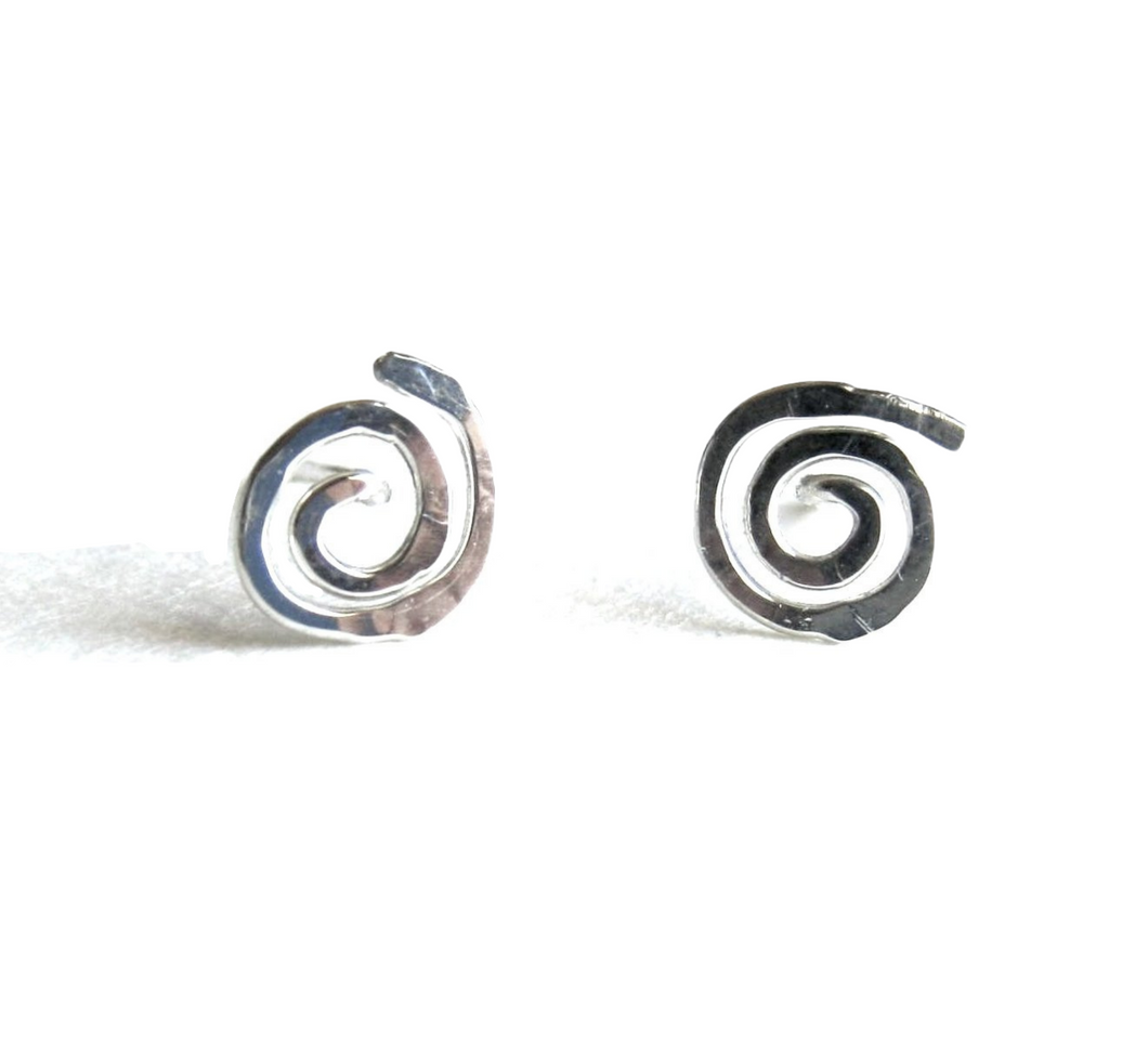 Sun Swirl Stud Earrings. Sterling Silver Hand Hammered Spiral Studs. Round Flat Swirl Stud Post Earrings