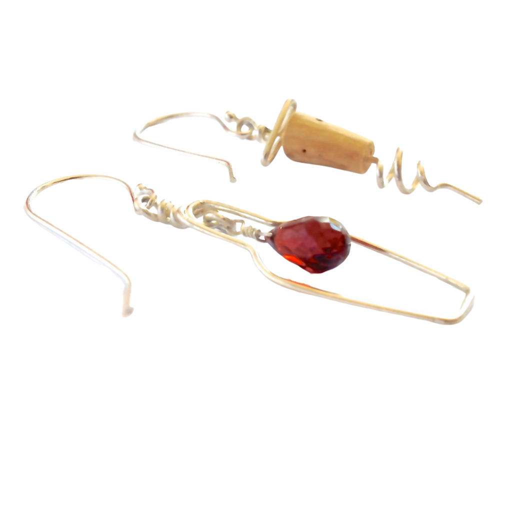 Red Wine Jewelry. 14k White Gold Garnet Wine Bottle and Cork Screw Earrings. Wine Gift