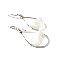 Load image into Gallery viewer, Rainbow Moonstone Gemstone Earrings. Small Sterling Silver White Moonstone Gemstones.