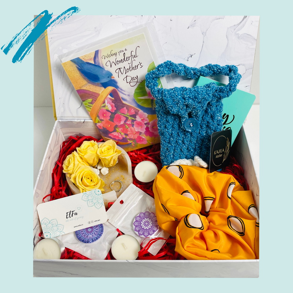 perfect gift boxes sets for Mother's day include scrunchie, phone case pouch, eternal flowers, pop grips. Sunshine vibes in yellow colours. blue and yellow colours