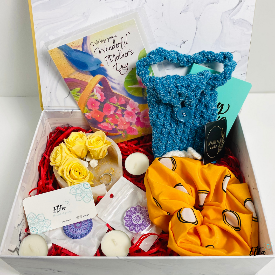 perfect gift boxes sets for Mother's day include scrunchie, phone case pouch, eternal flowers, pop grips. Sunshine vibes in yellow colours.