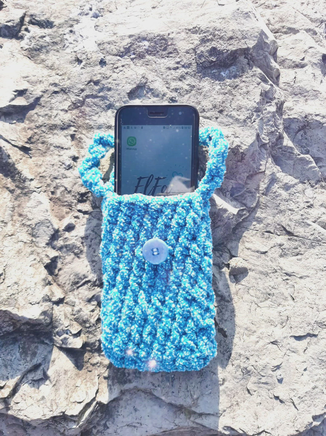 Soft Crochet Phone Cozy/ Pouch with Wristlet