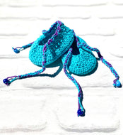 Crochet toddler turquoise loafers slippers handmade soft cute nice great gift with bow free