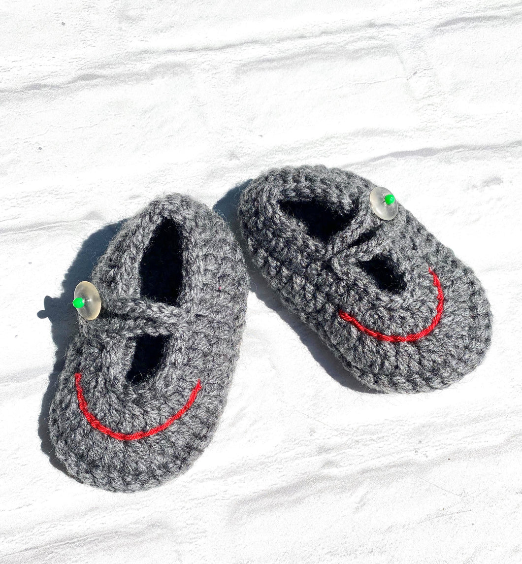 Fun Grey Sandal Style Crochet Moccs for Boys (Limited Offer)