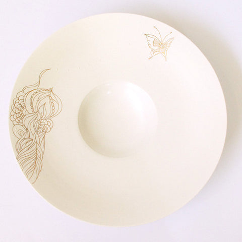 "Gold Painted Porcelain Dish L ""Rin Ran"""