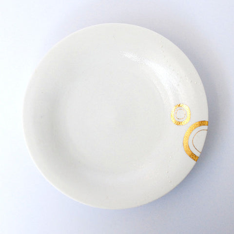 "Gold Painted Porcelain Dish M ""Hamon"""