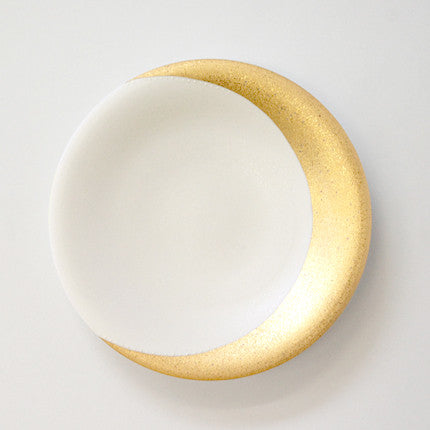 "Gold Painted Porcelain Dish M ""Moon"""